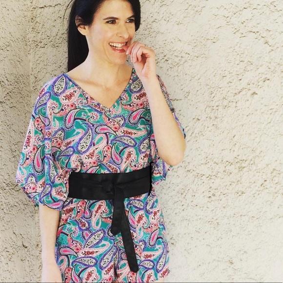 CHARLOTTE RUSSE Paisley Kimono Romper Small